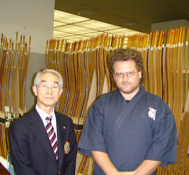 Ici avec Shihan Kyudo Masao Iijima (Tokyo, Budokan), 8e dan de Kyudo (Tokyo, Japon).